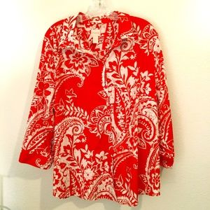 Chicos red and white floral 3/4 sleeve fit no iron